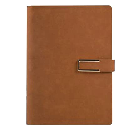 Cuaderno de la PU de cuero de la cubierta A5 Tiempo de hojas ...