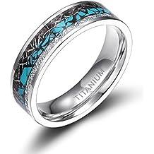 Titanium Rings Turquoise Imitated Meteorite Inlaid