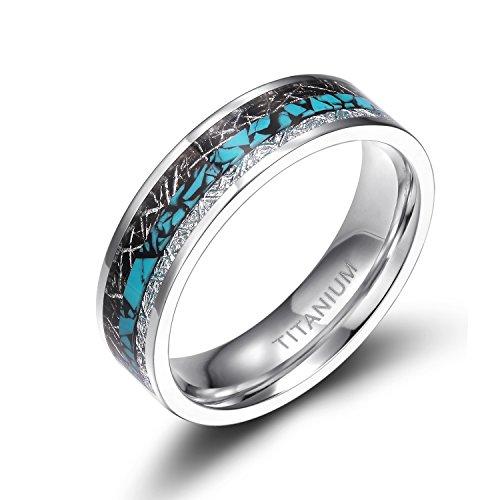Titanium Rings Turquoise Imitated Meteorite Inlaid (6 mm, 6) (Jewelry Titanium Ring)