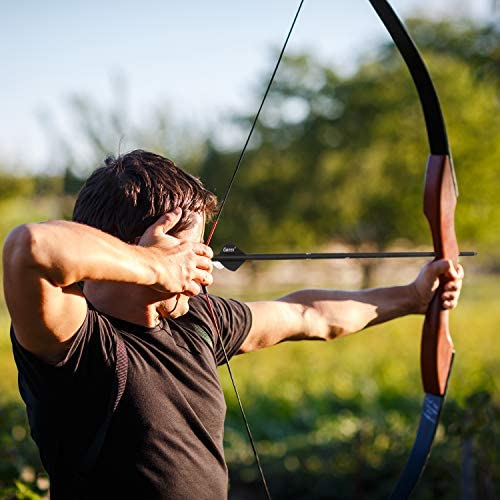 30//40lbs YN-1 Hunting Archery Straight Bow //Carbon Arrows Set Outdoor Sports