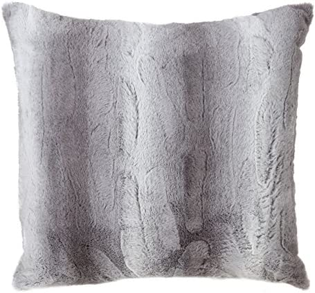 SARO LIFESTYLE Wilma Collection Timeless Animal Print Faux Fur Poly Filled Throw Pillow, 20 , Grey