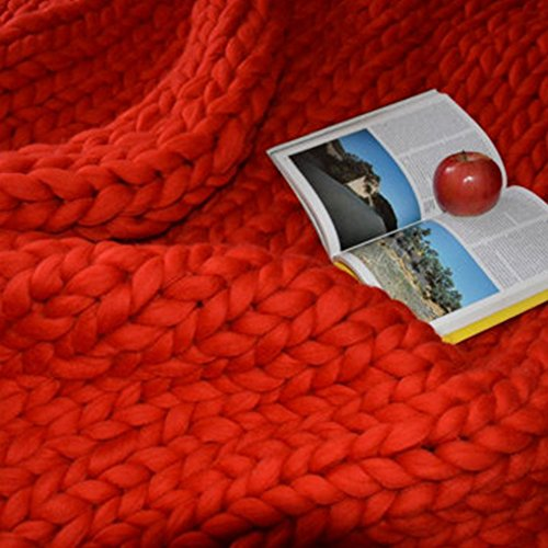 Red Arm Knitting Chunky Knit Blanket,Giant Chunky Knit Throw,59x79in Merino Wool Blanket,Arm Knit Blanket,Super Thick Blanket by Clisil (Image #4)