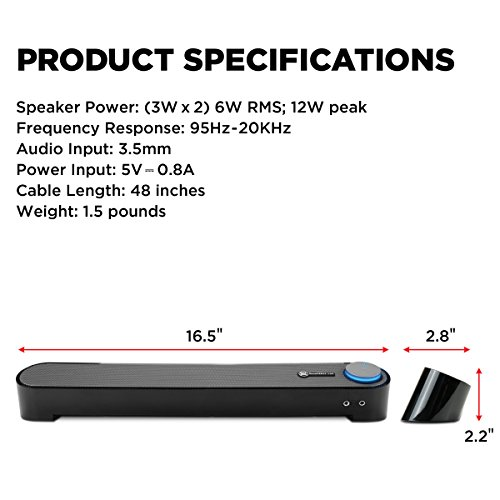 GOgroove Computer USB Powered Mini Sound Bar - SonaVERSE UBR Wired Soundbar Speaker 16.5'' w/Front Access Mic & Headphone Jacks, LED Volume Dial, Angled Design for Desktop, PC, Laptop (Black) by GOgroove (Image #4)