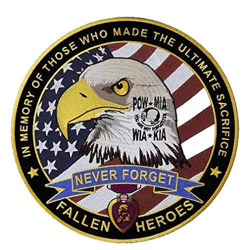 Leather Supreme Never Forget Patriotic Military Fallen Heroes Biker Patch-Yellow-Large ()
