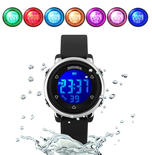 WUTONYU(TM) Children Digital Watch Kids Boy Girls LED Alarm Stopwatch Waterproof Wristwatches(Black) by WUTONYU (Image #7)