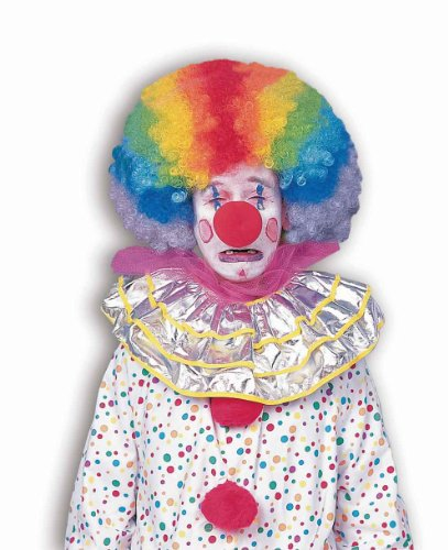 Forum Novelties Men's Jumbo Rainbow Clown Costume Wig, One (Adult Clown Wig)