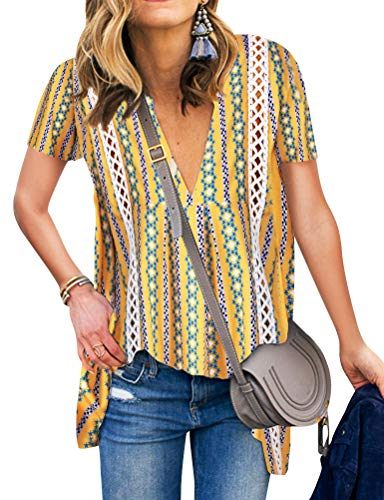 ZXZY Women Long Sleeve V Neck Hollow Out Floral Print Shirt Tops Long Blouse Tee (L, 3-Yellow)