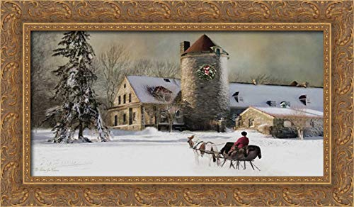 (One Horse Open Sleigh 24x15 Gold Ornate Wood Framed Canvas Art by Vieira, Robin-Lee)