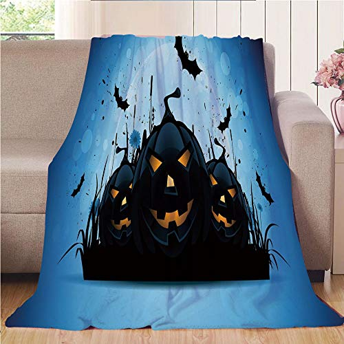 Blanket Comfort Warmth Soft Cozy Air Conditioning Fleece Blanket Perfect for Couch Sofa Or Bed,Halloween,Scary Pumpkins in Grass with Bats Full Moon Traditional Composition Decorative,Black Yellow Sky
