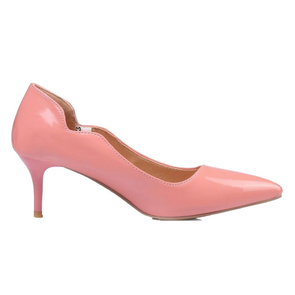 Smilice Women Plus Size US 0-13 Mid Heel Pointy Toe New Dress Pumps 6 Colors Available New B074RFN4ZB 30 EU = US 0 = 20 CM|Pink 2