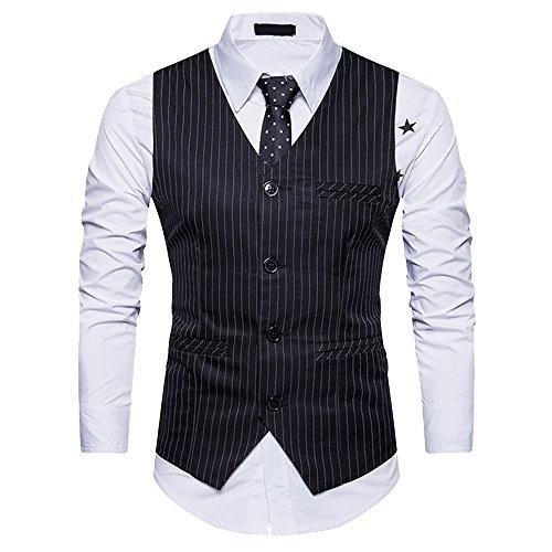 Vintage Costumes Rayures Gilet Slim Oeak Casual De Business Fit Homme Noir 8BZOSq