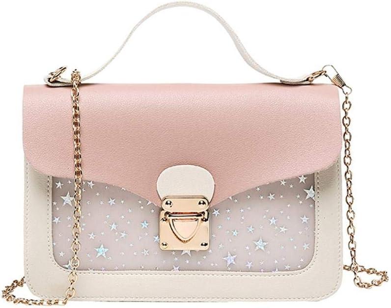 tianyoukai Cute Stars Pattern Shoulder Handbags Women Small Crossbody Bags Pink