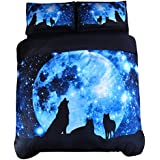 Wowelife 3D Galaxy Wolf Bedding Queen Wolf Blue Moonlight 4-Pieces with 1 Duvet Cover,1 Flat Sheet and 2 Pillow Cases (Comforter and Fitted Sheet Not Included)(Queen)