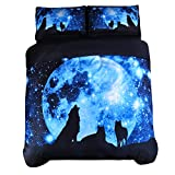 Wowelife Wolf Bedding Sets 3D Galaxy Wolf Blue Moonlight Queen 4-Pieces with 1 Duvet Cover,1 Flat Sheet and 2 Pillow Cases (Comforter and Fitted Sheet Not Included) (Queen)