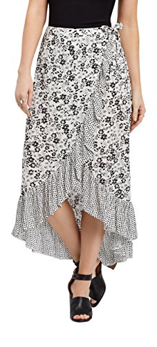 maurices Women's Floral Ruffle Wrap Maxi Skirt Large Black Combo