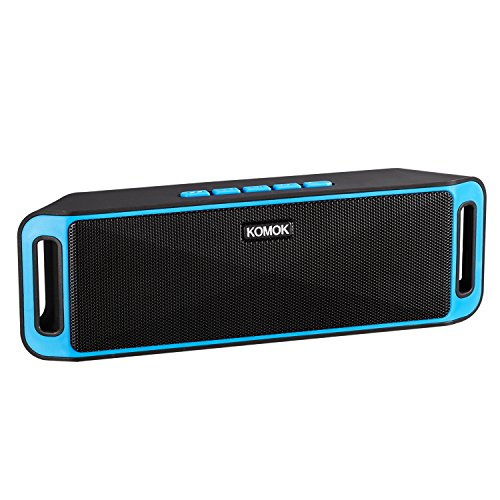 Portable Outdoor Bluetooth Speaker,KOMOK Wireless Small Stereo Speaker with Built-In Mic   Powerful Dual Loudspeakers,Wireless Hands-Free Calls  Richer Bass,FM Radio,AUX,TF Card,USB Rechargeable(Blue)