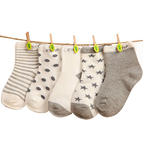 TheFound 5 Pairs Baby Boy Girl Cotton Dots Socks NewBorn Infant Toddler Kids Soft Sock (M, Gray)