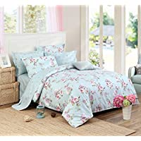 FADFAY Bad in a BEG Set 7-Pieces Elegant and Shabby Blue Hydrangea Floral Bedding Set 100% Soft Cotton Hypoallergenic,(1 Duvet Cover+1 Fitted Sheet+1 Flat Sheet+4 Pillow Shams),Queen Size