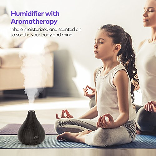 VAVA 2-in-1 Oil Diffuser Humidifiers, Essential Oil Compatible, Aroma Wood Grain Ultrasonic Cool Mist Humidifiers for Bedroom Office Home Nursery Yoga Spa, No Light Disturb-(1.2L/0.3 Gallon, US 110V)