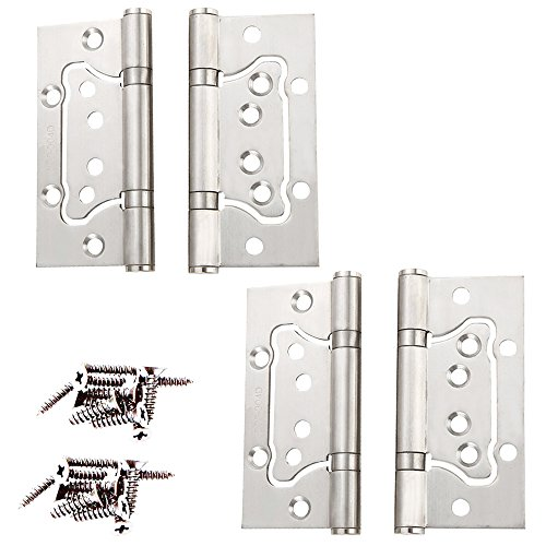 Non-Mortise Hinges,4 Pcs PERTTY 304 Stainless Steel Exterior Door Hinges 1.5'' X 4'' Heavy Duty Hinges