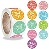 """PMCDS2G Thank You Stickers Roll 1"""" Flower Wreath 9 Beautiful Styles 500 Units in One Roll for Gift Décor Sealing"""