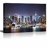 wall26 - City Skyline - New York City Manhattan Skyline Panorama at Night over Hudson - 24x36