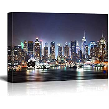 Canvas prints wall art new york city manhattan skyline panorama at night over hudson river with refelctions viewed from new jersey modern wall decor