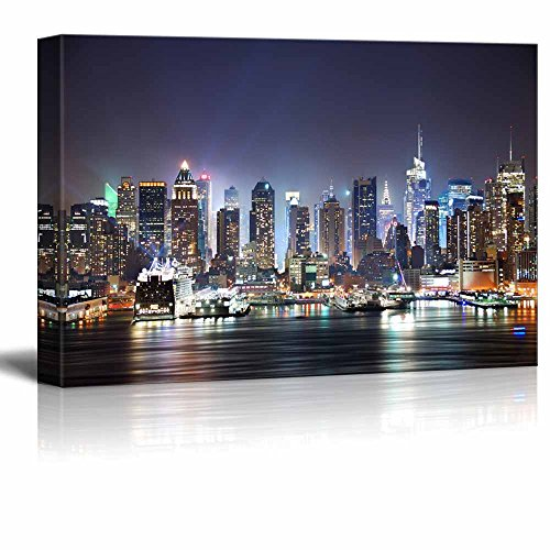 Canvas Prints Wall Art - New York City Manhattan Skyline Panorama at Night over Hudson River with Refelctions Viewed from New Jersey | Modern Wall Decor/ Home Decoration Stretched Gallery -
