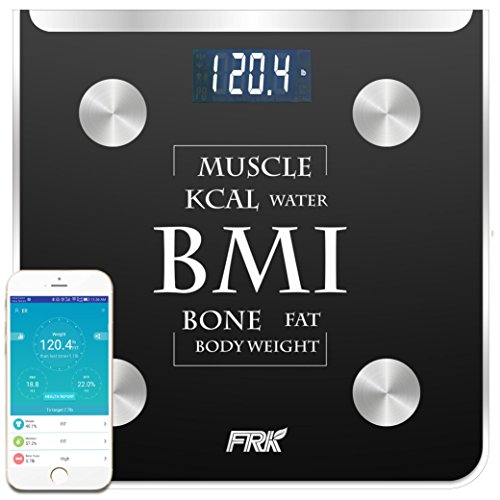 Height Weight Scale (FRK Bluetooth Body Fat Scale, Digital Weight Scales With Body Fat for iOS/Android, Smart Scale Apple Health and Google Fit for Body Fat, BMI, Muscle, Water, Bone Mass, 400lb,Black)