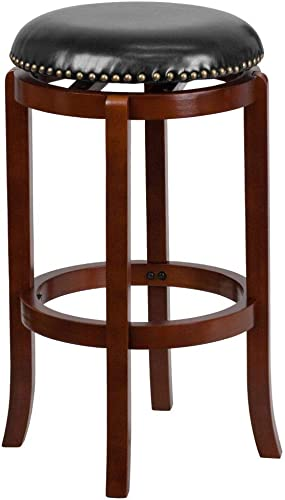Flash Furniture 29 High Backless Light Cherry Wood Barstool with Black LeatherSoft Swivel Seat
