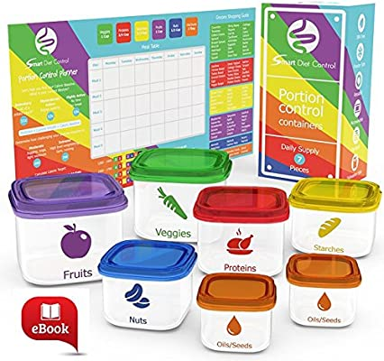 7-Piece Leak-Proof Microwave Portion Control Container Kit with Meal Planner