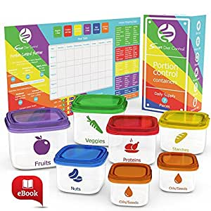 SDC - 7 Piece Portion Control Containers Kit Comparable to 21 Day Fix with Complete Guide and EBOOK Leak Proof Microwave and Dishwasher Safe