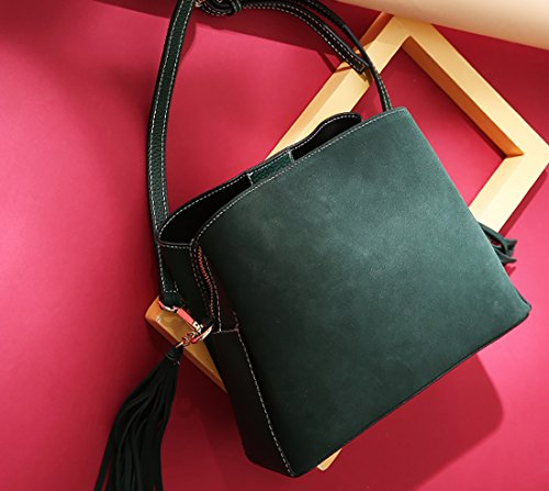 Leather Totes Ladies Purses Bucket Green Shoulder and Bag Handbags Dark Fashion Bag Bags Heshe pwqRBTT