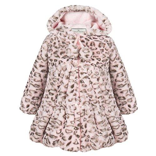 American Widgeon Girls Faux Fur Hooded Coat Outerwear, Pink Leopard