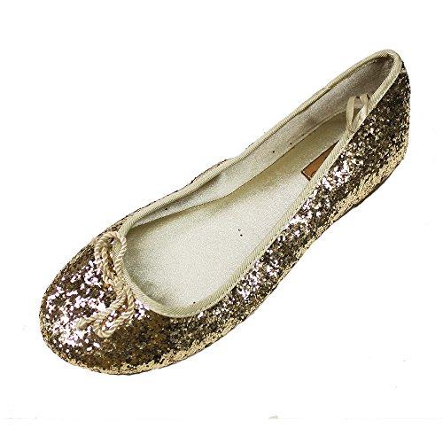 Zara Kids Spangles Flat Shoes for Girl Gold - Buy Online in