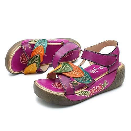 Tå Vintage Sandaler Blomst Løkken Ankel Socofy Lær Hul Flate Ut Sommer Folkways Kiler Åpen Strap Sko Hekt Kvinner Lilla Plattform RSUxzw