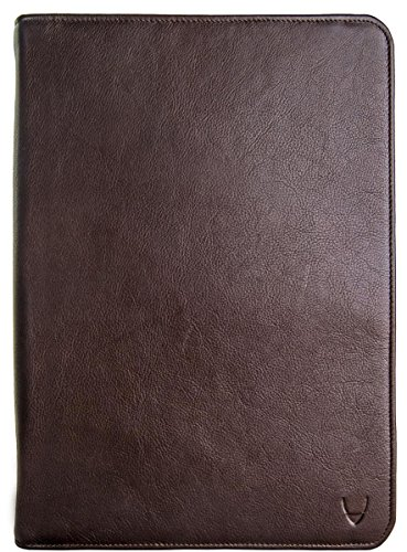 Hidesign Leather Zip File Folder Writing Pad with iPad/Tablet Pocket Brown by Hidesign