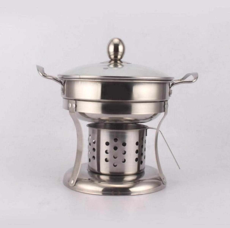 Estufa pequeña Alcohol Pot Buffet olla de acero inoxidable Comercial Inicio Shabu Shabu, Plata 16cm (Color : Silver, Size : 16cm)