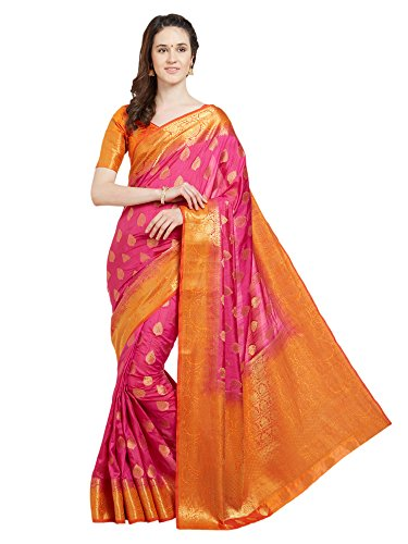 Viva N Diva Saree for Women's Pink & Orange Banarasi Art Silk (Two Tone Art Silk) Saree with Un-Stiched Blouse Piece,Free Size