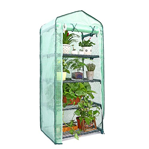 "Ohuhu Mini Greenhouse, Small Plant Greenhouses, 4 Tier Rack Stands Portable Garden Green House for Outdoor & Indoor, 27"" Long x 18"" Wide x 63"" High"