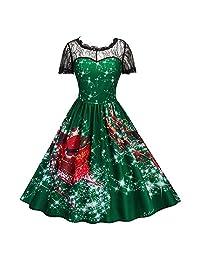 FTVOGUE Vintage Christmas Snowflake Printing Women V-Neck Sleeveless Casual Dress