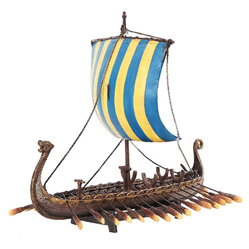 PTC 12.75 Inch Viking Warrior Replica Sailing Ship Resin Statue Figurine
