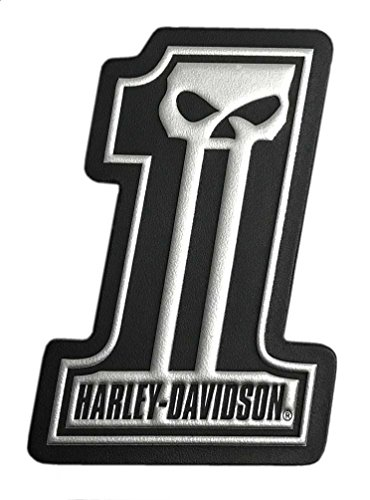 Harley-Davidson Dark Custom #1 Skull Leather & Foil Emblem Patch, 4 x 3 inches (Patch Harley One Davidson)