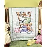 Fairway 92619 Baby Quilt, Reading Stork Design, 36 by 50-Inch, White