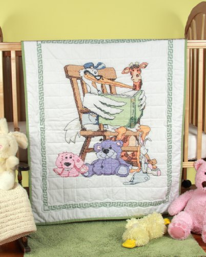 Fairway 92619 Baby Quilt, Reading Stork Design, 36 by 50-Inch, White