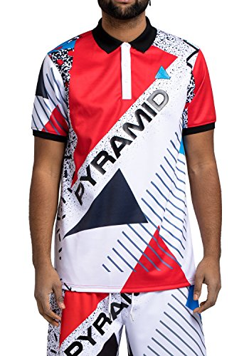Black Pyramid BP Geometric Shapes Polo Shirt (Red, L) - Black Pyramid Shape