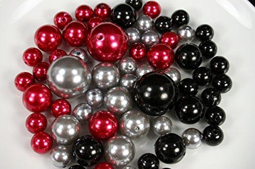 DPC Christmas Set 63 Elegant Vase Fillers Assorted Pearls Beads - Unique Decorative Gems (RED, Silver, Black) -