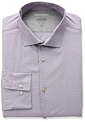 Calvin Klein Men's Thermal Stretch Xtreme Slim Unsolid Solid Dress Shirt