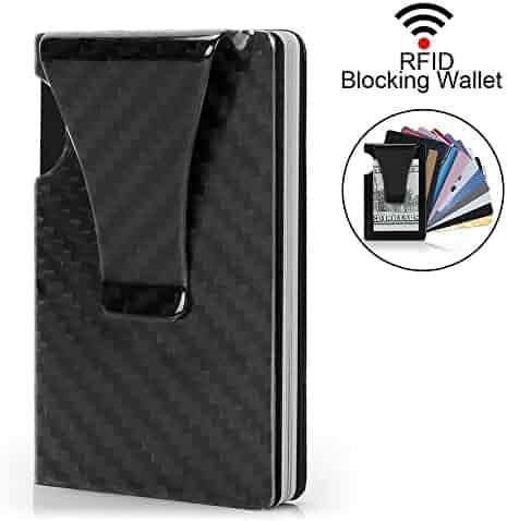 Money Clip, Slim Wallet- EGRD Minimalist Wallet, Carbon Fiber Front Pocket Wallet, Business Card Holder, RFID Blocking Credit Card Holder For Men