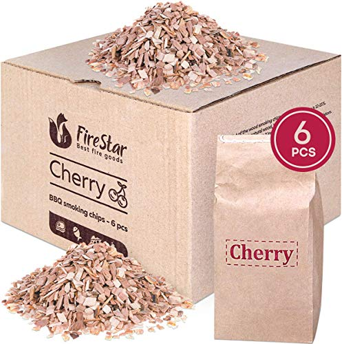 Cherry wood chips for smokers - Wood chips for electric smokers | smoke gun | grill - 6 packs of natural mini smoker cherry chips ()